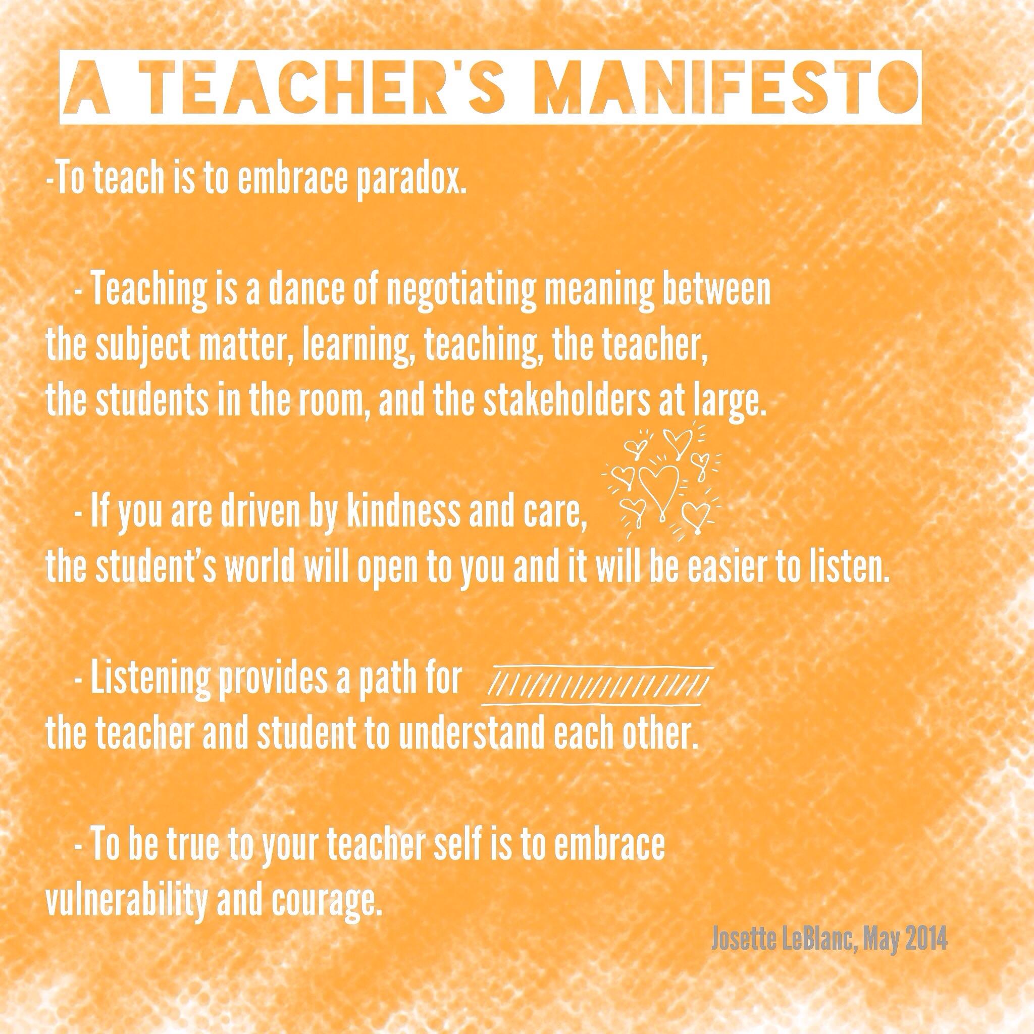 Teacher Manifesto